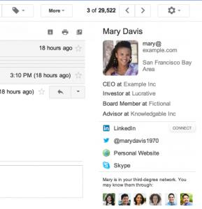контакт в Rapportive для Gmail